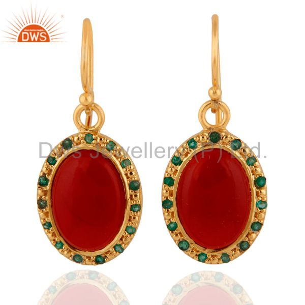 925 Sterling Silver Red Onyx 18K Gold Plated Emerald Gemstone Dangle Earrings