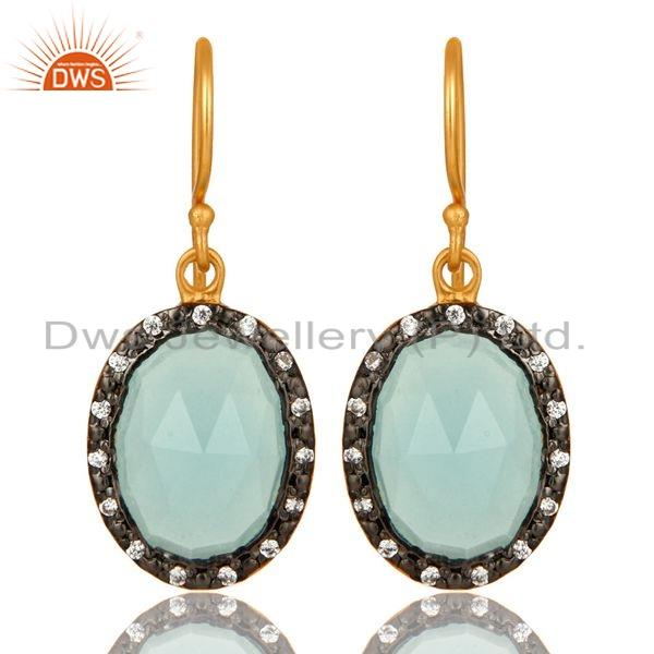 18K Gold Plated Sterling Silver Aqua Chalcedony Dangle CZ Earrings