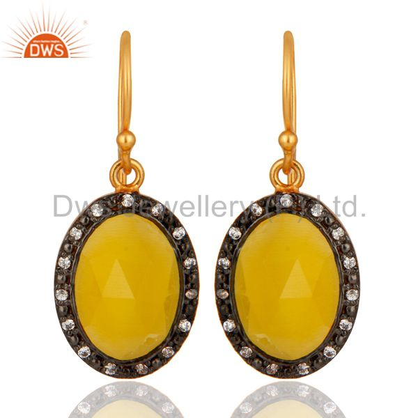 925 Sterling Silver Oval Shaped Moonstone Earrings With 18k Yellow Gold Plated