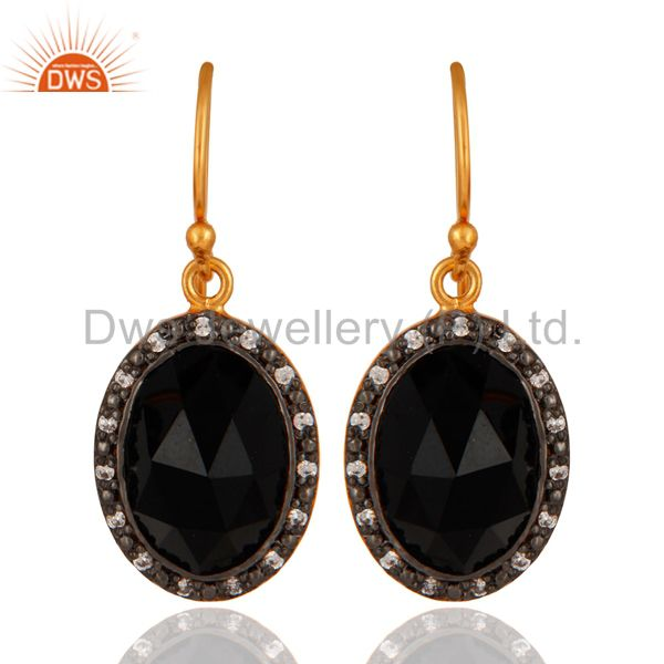 Gold Plated Sterling Silver Faceted Black Onyx Gemstone Bezel Set Dangle Earring