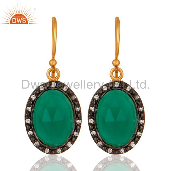 18K Gold Plated 925 Sterling Silver Natural Green Onyx Gemstone Handmade Earring
