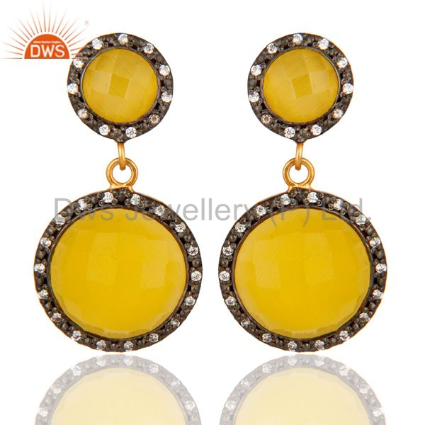 925 Sterling Silver With Gold Plated Womens Fashion Yellow Moonstone Earrings