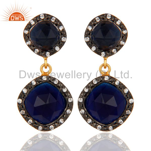 18K Gold Plated Blue Sapphire Faceted Gemstone Sterling Silver Earrings With CZ