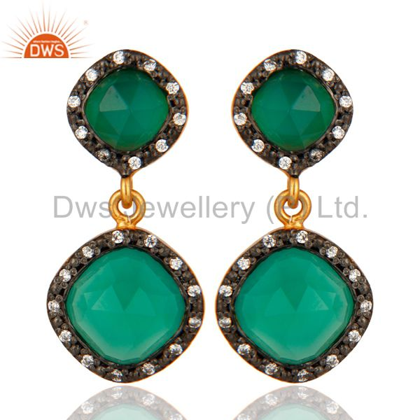 18K Yellow Gold On Sterling Silver Faceted Green Onyx Gemstone Earrings With CZ