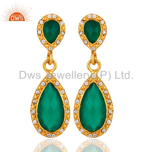CZ And Green Onyx Gemstone Drop Earrings - Gold Plated Brass Jewelry