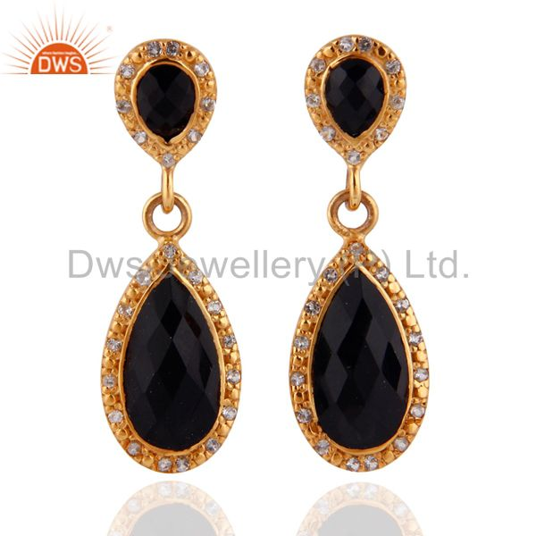 White Topaz & Black Onyx 18k Gold Plated Sterling Silver Drop Dangle Earrings