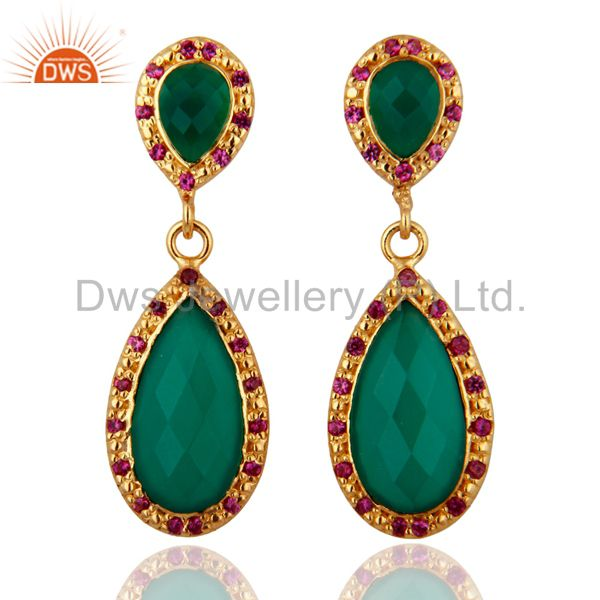 Green Onyx 18k Gold Plated Sterling Silver Drop Earrings With Ruby Color Zircon
