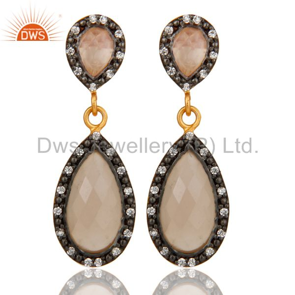 Rose Chalcedony 18K Gold Plated Sterling Silver Drop Earrings With White Zircon