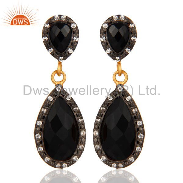 14K Gold Plated 925 Sterling Silver Black Onyx Dangle Earrings With CZ