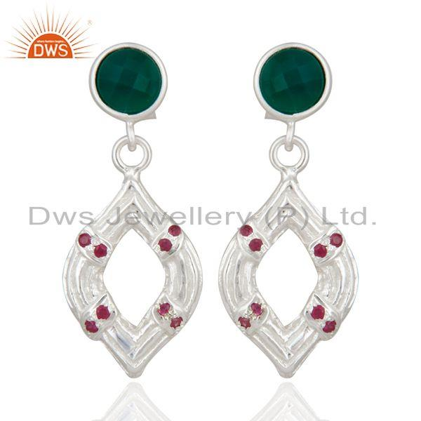 Handmade 925 Sterling Silver Ruby & Green Onyx Gemstone Dangle Earrings