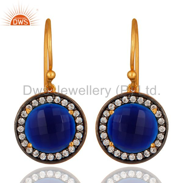Blue Corundum And White Zircon Earrings In 18K Gold Over Sterling Silver Jewelry