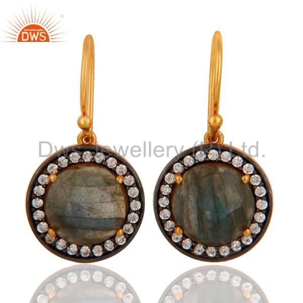 18K Gold Plated Sterling Silver Labradorite Gemstone Earring With White Zircon