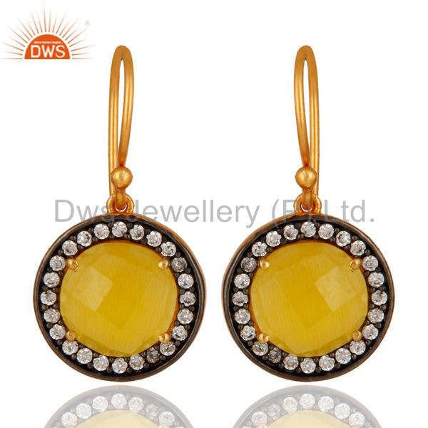 Faceted Yellow Moonstone 925 Sterling Silver Gold Plated Hook Earring With CZ