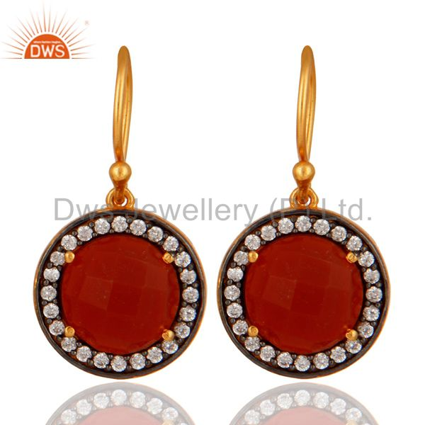 18K Gold Plated 925 Sterling Silver Red Onyx Gemstone Earring With White Zircon
