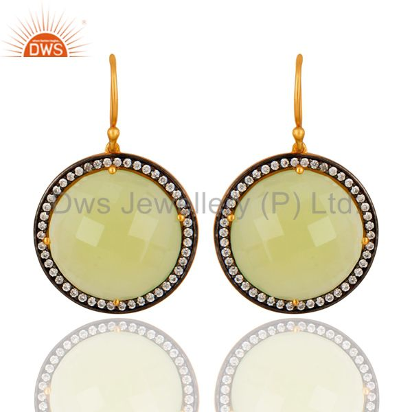 Prehnite Chalcedony Gemstone Earring With CZ Made In 18K Gold Over Solid Silver