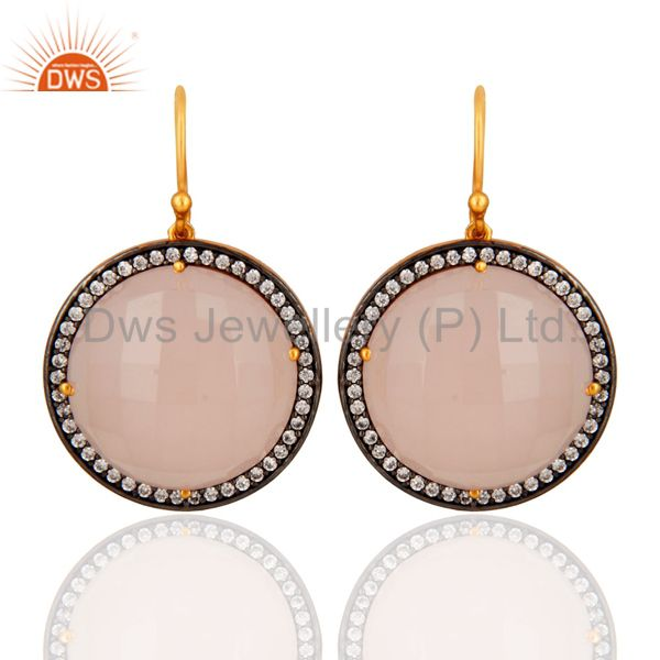 Natural Rose Chalcedony Earring in 18K Gold Plated Over Sterling Silver Jewelry