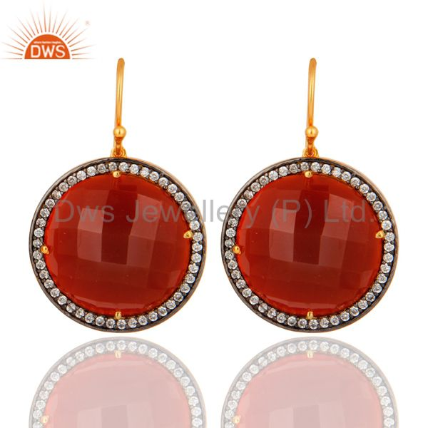 Gold Plated 925 Sterling Silver Red Onyx Faceted Gemstone Prong Earring With CZ