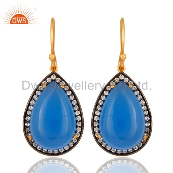 925 Sterling Silver Prong-Set Blue Chalcedony Gemstone Earrings - Gold Plated