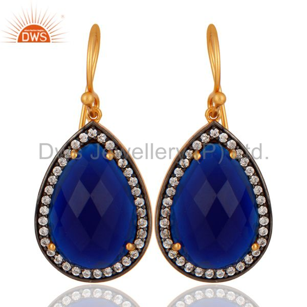 18K Gold Over 925 Sterling Silver Blue Sapphire Corundum Gemstone Drop Earrings