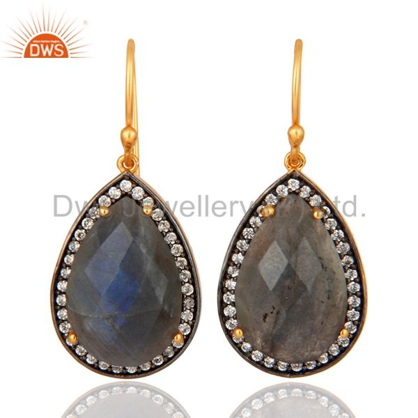 Gold Plated Sterling SIlver Faceted Labradorite Gemstone Bezel Set Earrings