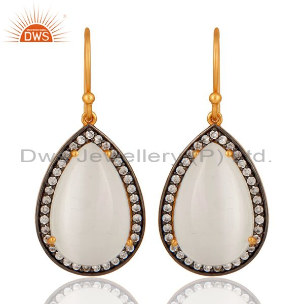 Handmade Natural White Moonstone Gold Plated 925 Silver Gemstone Drop Earrings