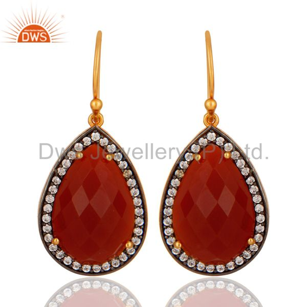 Red onyx Gemstone Pave Cubic Zirconia 18k Gold Plated Sterling Silver Earrings