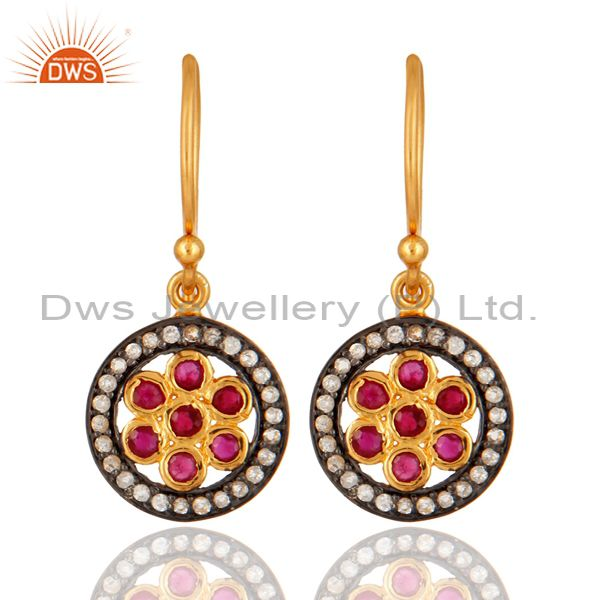 925 Sterling Silver Ruby And White Topaz Gemstone Earring