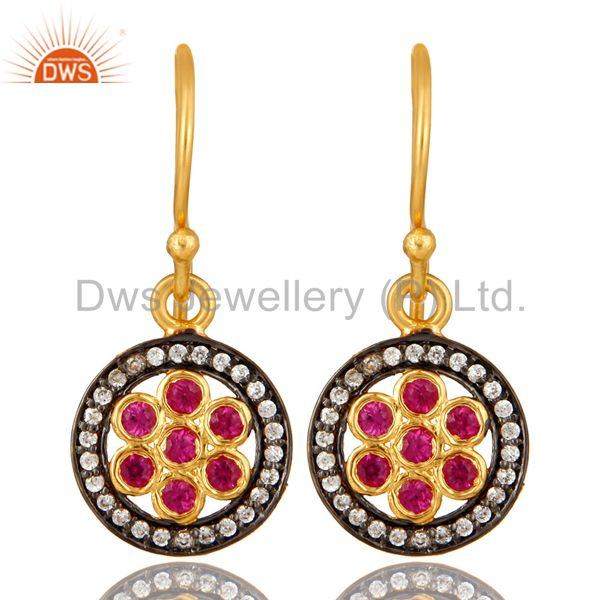 Shiny 18K Yellow Gold Plated Sterling Silver Red Cubic Zirconia Drop Earrings