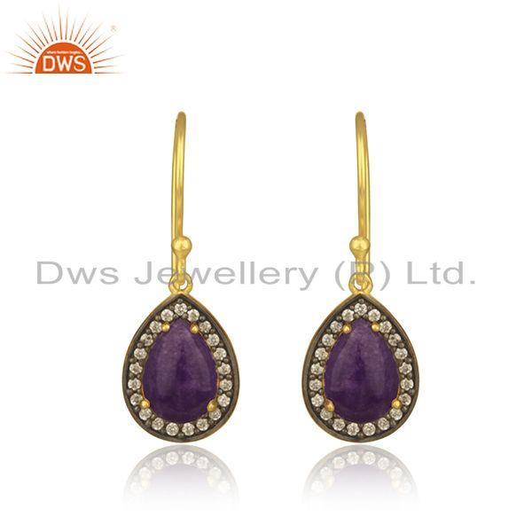 Aventurine and Cz Gemstone Gold Plated 925 Silver Drop Earrings Manufacturer