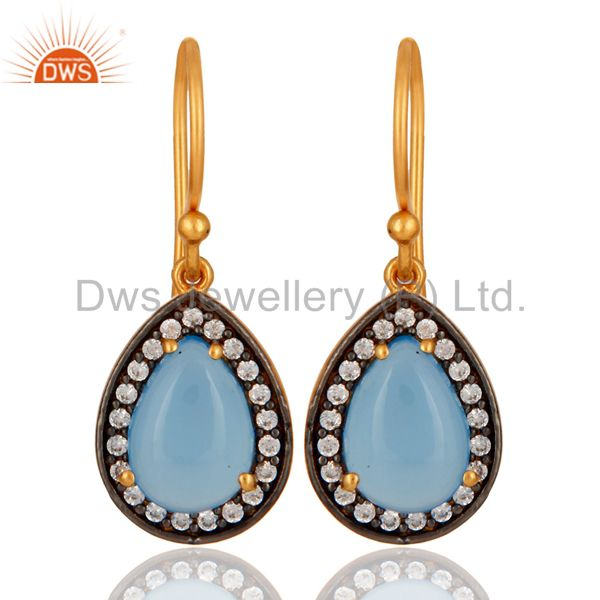 Blue Aqua Chalcedony Gemstone Earring Made In 24K Gold Plated Sterling Silver