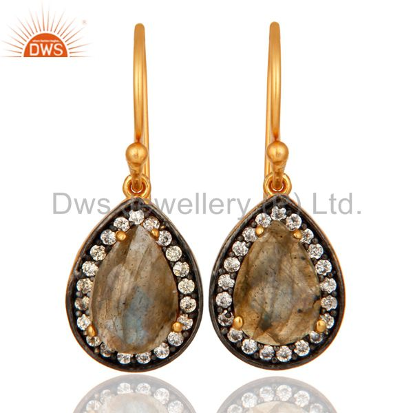 Natural Labradorite Gemstone Sterling Silver With Yellow Gold Plated Earrings
