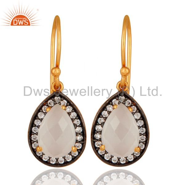 925 Sterling Silver White Moonstone Drop Earring With 24K Gold Plated