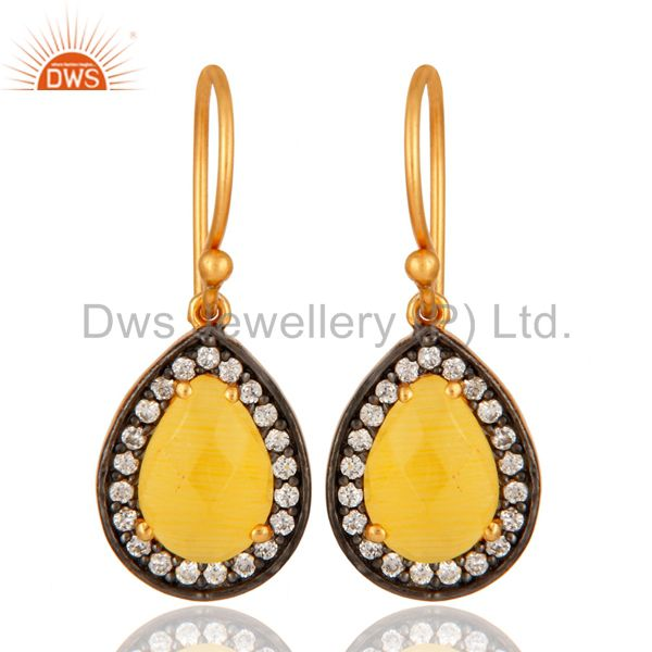 18K Gold Plated 925 Sterling Silver Pave CZ & Yellow Moonstone Designer Earrings