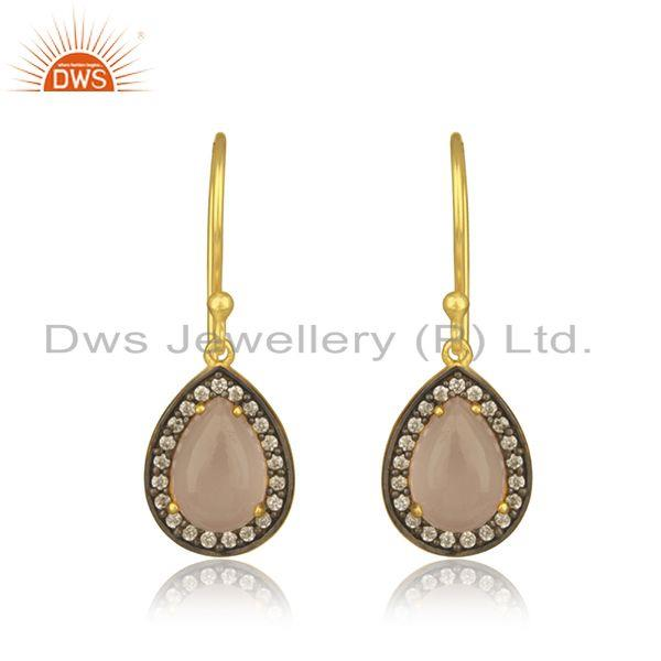 Rose Chalcedony Gemstone 925 Silver Gold Plated Drop Earring Manufacturer Jaipur