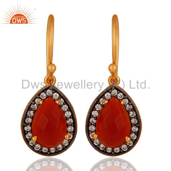 Designer 18K Gold Plated Handmade Sterling Silver Red Onyx Gemstone Earrings