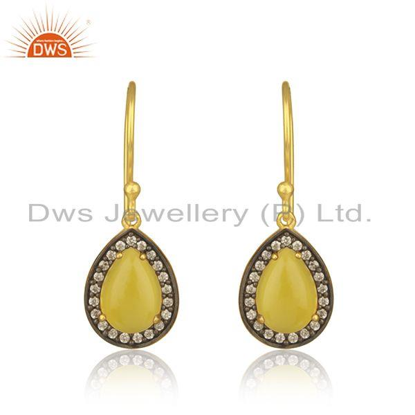 Yellow Chalceodny Gemstone 925 Silver Gold Plated Drop Earrings Manufacturer