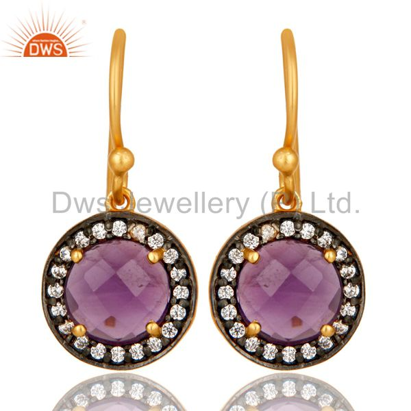 18K Yellow Gold Plated Sterling Silver Amethyst And CZ Disc Dangle Earrings