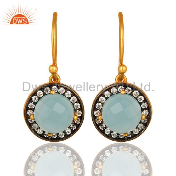 18K Yellow Gold Plated Sterling Silver Pave CZ And Aqua Blue Chalcedony Earrings