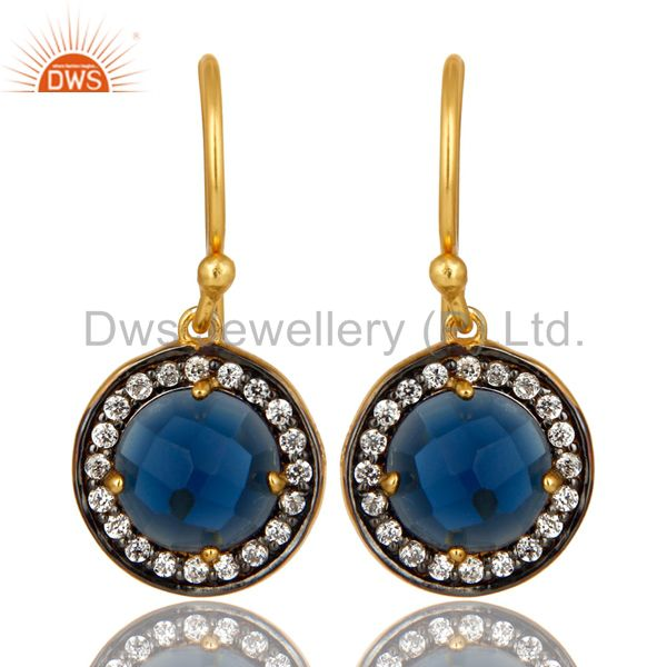 14K Yellow Gold Plated Sterling Silver Blue Corundum And CZ Halo Earrings