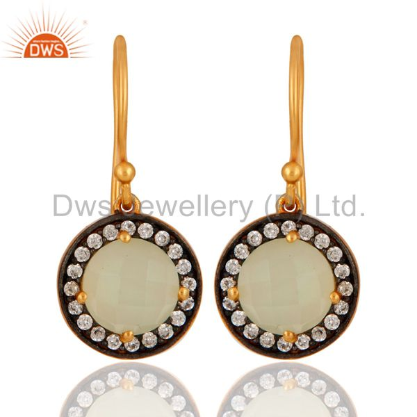 925 Sterling Silver Natural Chalcedony Gemstone & CZ Earrings With Gold Plated