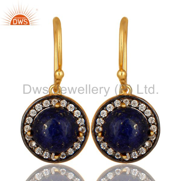 18K Yellow Gold Plated Sterling Silver Lapis Lazuli And cz Dangle Earrings
