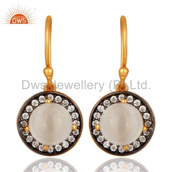 14k Gold Plated Sterling Silver White Moonstone Gemstone Prong Earrings With CZ