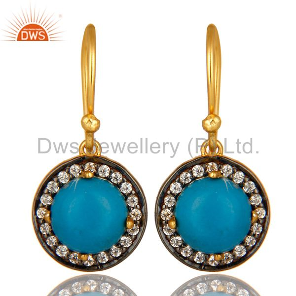 18K Yellow Gold Plated Sterling Silver Turquoise And CZ Surrounded Drop Earrings