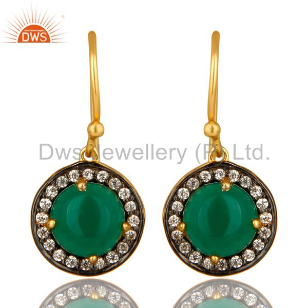 18K Yellow Gold Plated Sterling Silver Green Onyx And CZ Halo Dangle Earrings