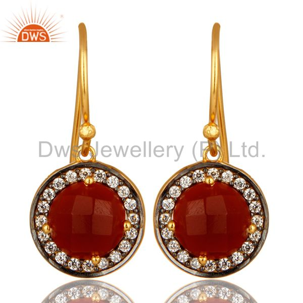 Round Cut Red Onyx Gemstone 18K Gold Plated Sterling Silver Earrings With CZ