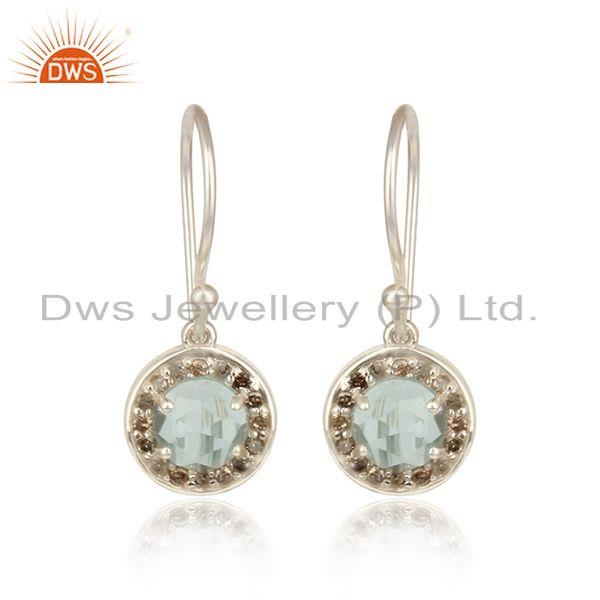 Diamond and blue topaz designer dangle in solid silver 925