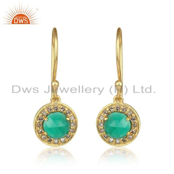Diamond green onyx designer dangle in yellow gold on silver 925