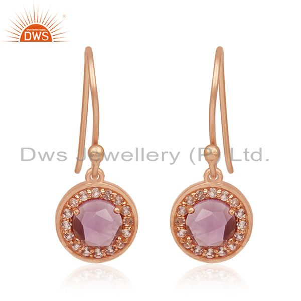 Amethyst Gemstone and White Topaz Gemstone Rose Gold Plated 925 Silver Earrings