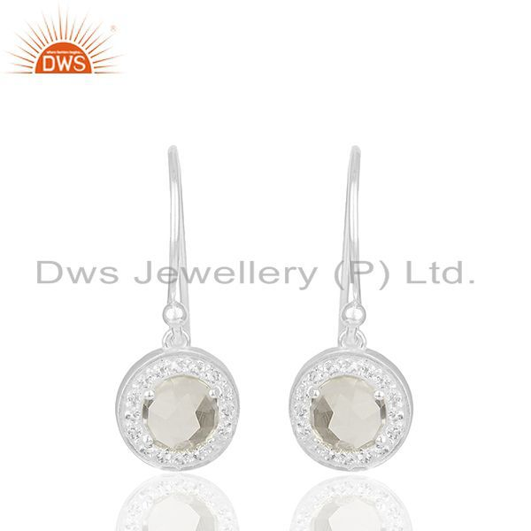 White Topaz and Crystal Quarta 925 Silver Drop Earrings Wholesale
