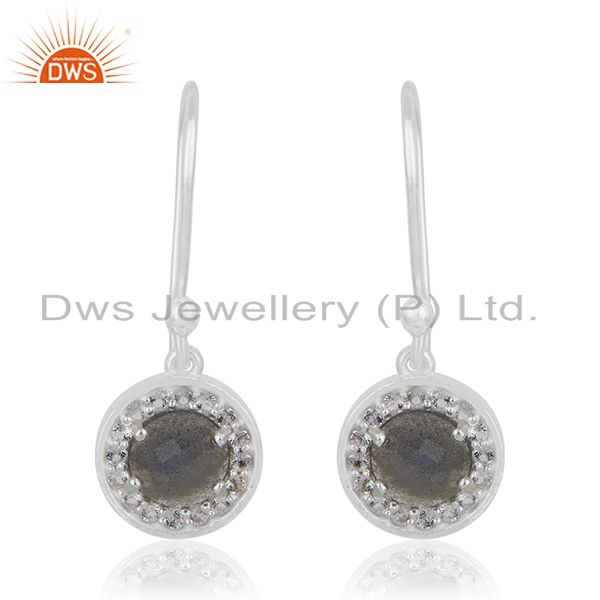 Labradorite Gemstone 925 Sterling Silver Drop Earrings Manufacturer INdia